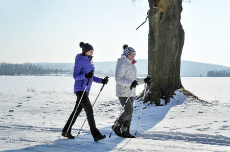 Mother and daughter train nordic walking Banco de Imagens