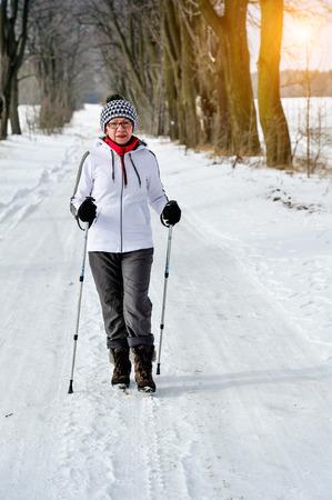 nordic walking: senior train nordic walking