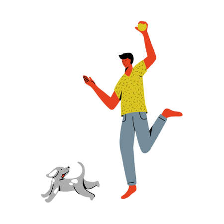 man playing with dog. Human and puppy friendship illustration in vector. Pet love and care. Colorful vector illustration in flat style.