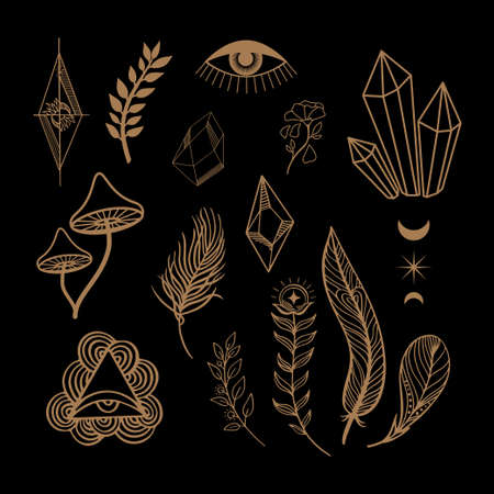 Esoteric Mystical Vector elements. Thin line geometric badge. Mystic and magic design with crystals, sun, stars, planets, moon.