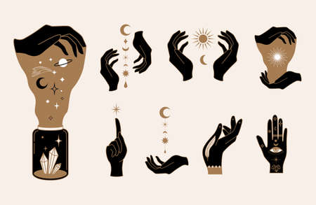 Elegant female witchy hands. Set of abstract hand drawn Vector illustrations. Logo design templates in trendy minimalistic style. Witchcraft, Boho, Fashion, esoteric concept
