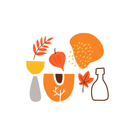 Abstract paper cut elements, fruits and berries. Thanksgiving greeting cards.