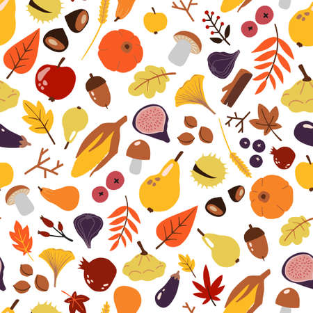 Seamless pattern with autumn objects: fruits and vegetables, harvest, leaves, plants, pumpkin
