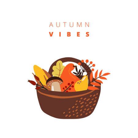 illustrations of autumn objects. Thanksgiving greeting cards
