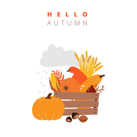 illustrations of autumn objects: fruits and vegetables, harvest, leaves, plants, pumpkin, pomegranates, figs and nuts. Cute freehand drawings to create a poster or card. Thanksgiving greeting cards Ilustracja