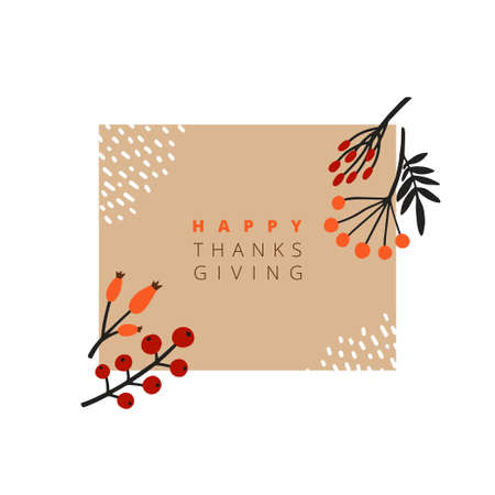 Abstract illustration with autumn objects. Abstract paper cut elements, fruits and berries. Thanksgiving greeting cards.