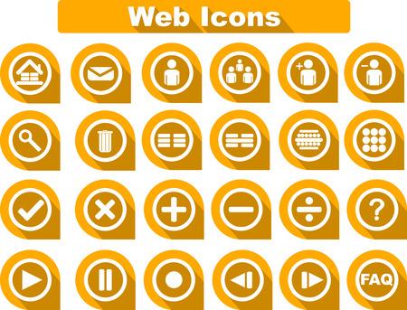 correspond: 24 Orange Web Icon, Flat Design