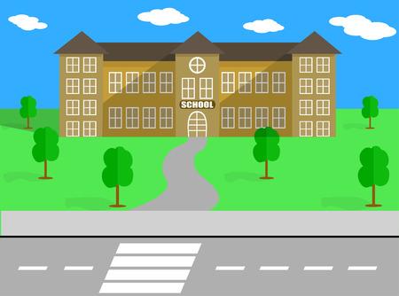 schoolyard: SCHOOL BUILDING AND VECTOR Schoolyard