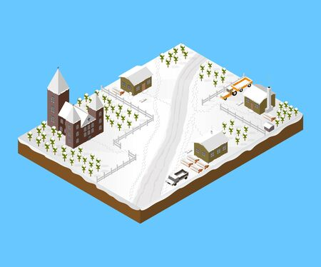 With Simple Isometric Town Houses and a Church Illustration