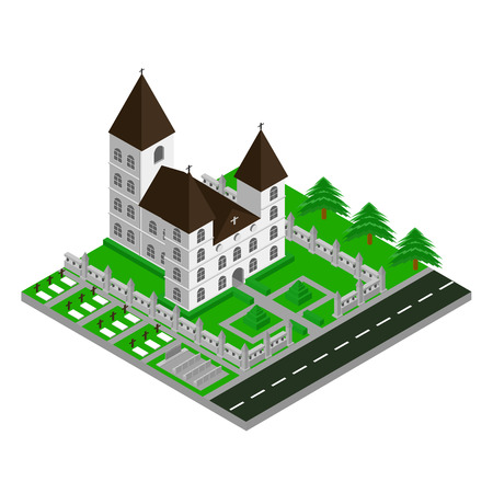 Church building Isometric 3D Icon, Vector, Illustration
