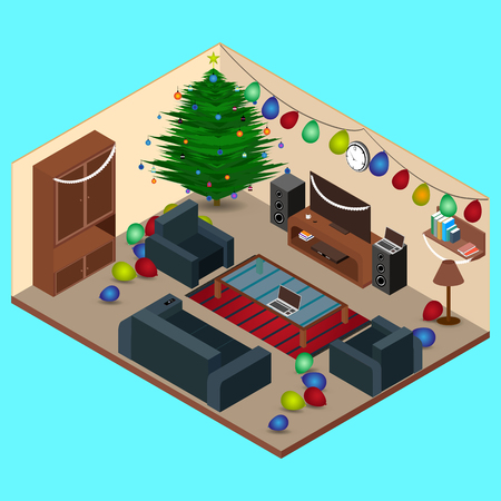 Isometric at Christmas Room Interior Living Room