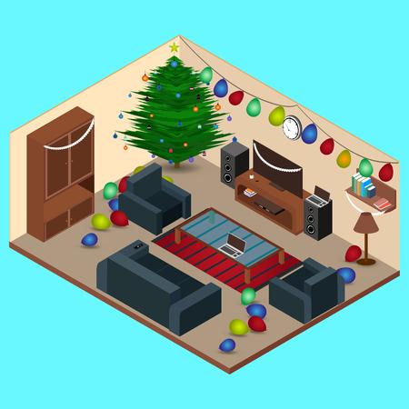 interior room: Isometric at Christmas Room Interior Living Room