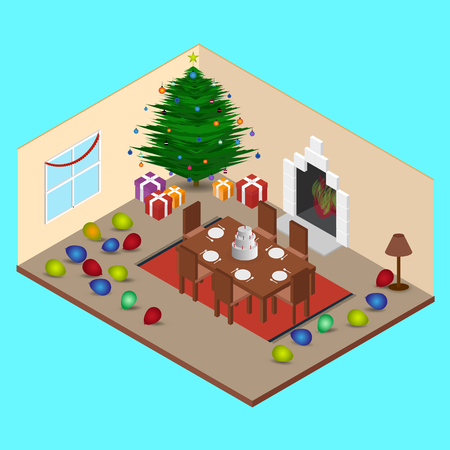 Isometric at Christmas Room Interior Living Room and Dining table Illustration