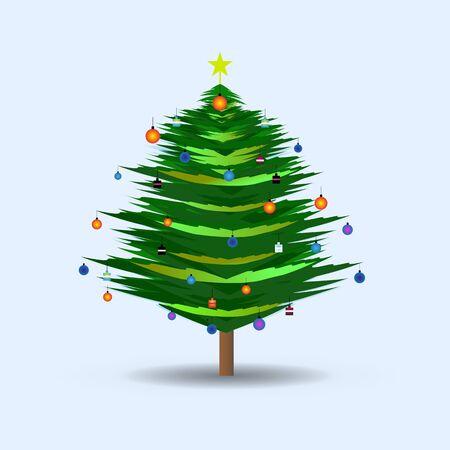 alder: Christmas tree on the Simple Background Illustration