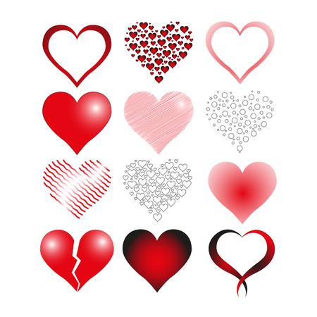 Láska srdce sady ikon, symbol, vektor, ilustrace Ilustrace