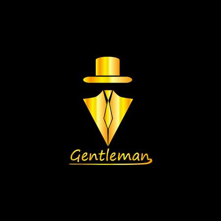 Golden Gentleman Logo Silhouette, EPS8, Vector, Illustration