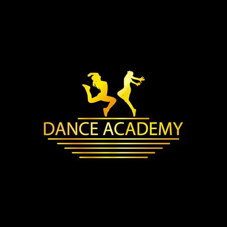 Luxury Logo d'or Silhouette Dance Academy, EPS8, vecteur, Illustration
