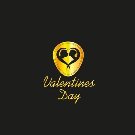 Valentines Day Luxury Golden Logo, EPS8, Vector, Illustration