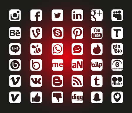 Istanbul, TURKEY - January 20, 2017: Social Media Icons Set
