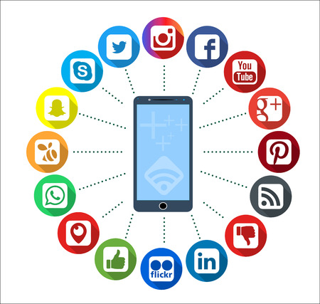 myspace: Istanbul, TURKEY - January 20, 2017: Social Media Icons Set