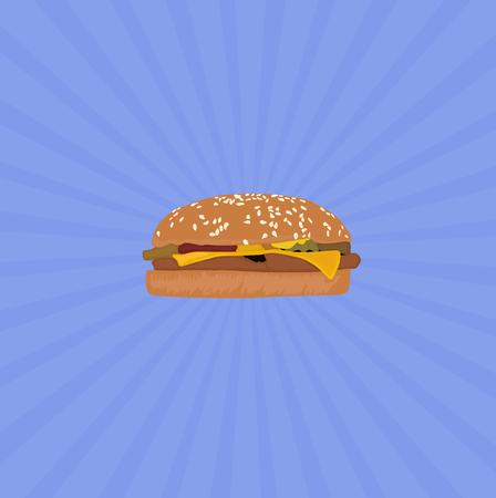 Hamburgers With Blue Background, Vector, Illustration, Eps.
