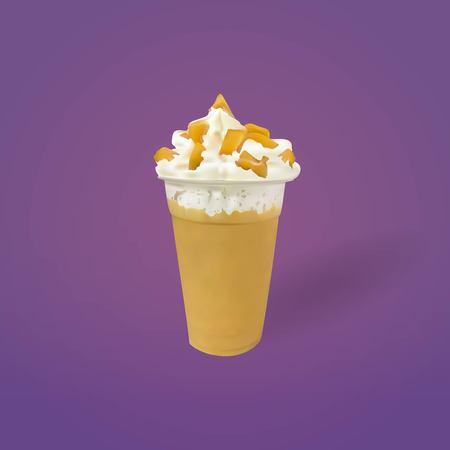 Caramel Frozen Milk with Whipped Cream, vector, illustration 向量圖像