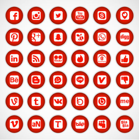 Social Network Icon Web Buttons,  Illustration Editorial