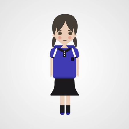 annoying: Angry Schoolgirl Character, Vector, Illustration, Eps File