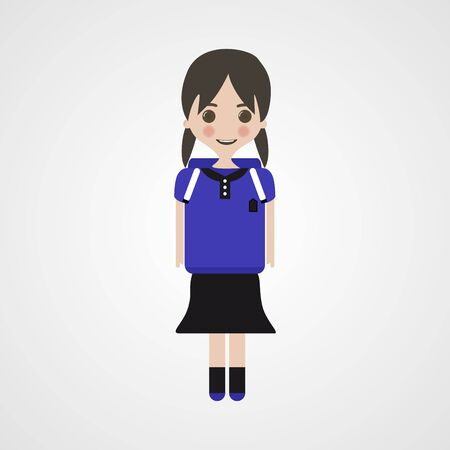 sprightly: Happy Schoolgirl Character, Vector, Illustration, Eps File Illustration