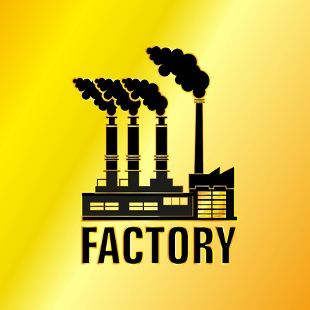 De Factory Building Gouden Pictogram, Vector, Illustratie, EPS