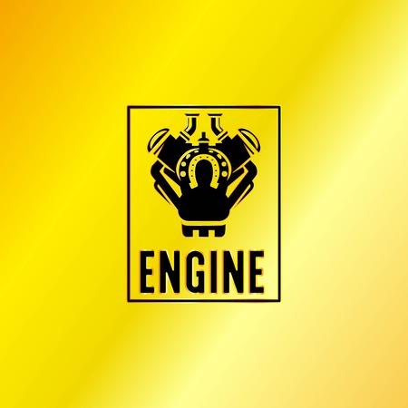aluminum: Black Engine Power Emblem, Vector, Illustration, EPS Illustration
