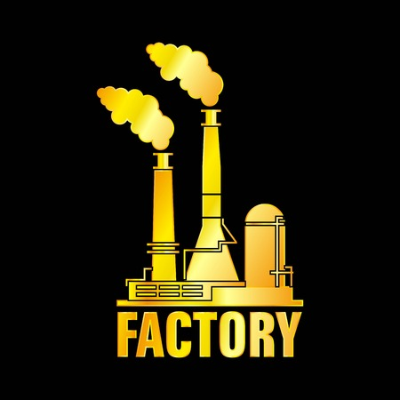 The Factory Building Golden Icon, Vector, Illustration, EPS