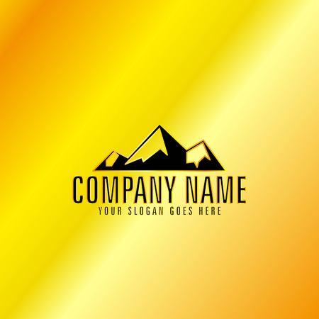 Black Mountain Emblem with Golden Background, Vector, Illustration