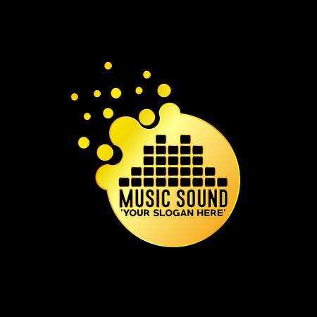 Goldene Musik Emblem mit schwarzem Hintergrund, Vektor, Illustration Standard-Bild - 81740657