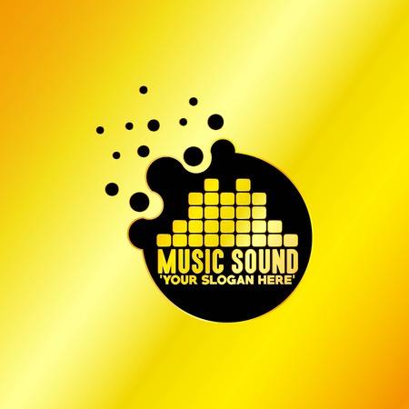 Music Emblem with Golden Background, Vector, Illustration Vettoriali