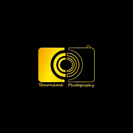 Golden Photographer Abstract Black Background, Vector, Illustration