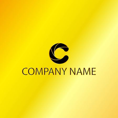 Golden Letter C Emblem with Black Background, Vector, Illustration