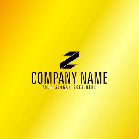 Black Letter Z Emblem with Golden Background, Vector, Illustration
