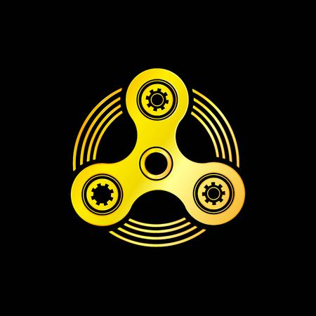 Golden Hand Spinner Emblem with Black Background Illustration