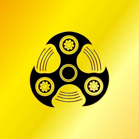 alloy: Black Hand Spinner Emblem with Golden Background Illustration