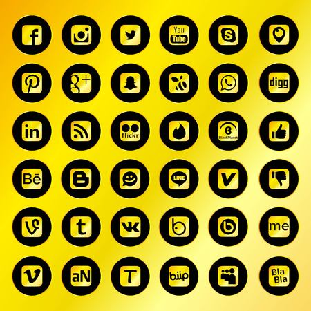 Black Social Network Icons with Golden Background