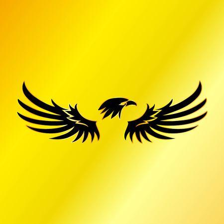 Black Eagle with Gold Background, Vector, Illustration Çizim