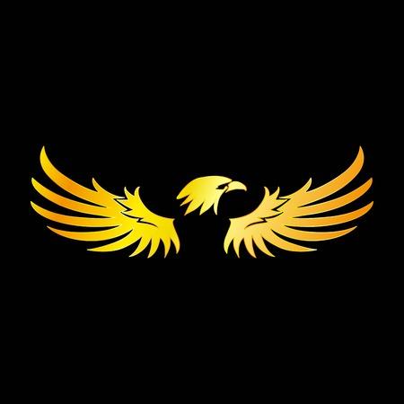Golden Eagle with Black Background, Vector, Illustration