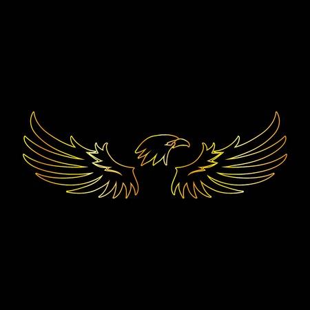 Golden Line Eagle with Black Background, Vector, Illustration