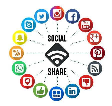 Social Share Icons with White Background Editorial