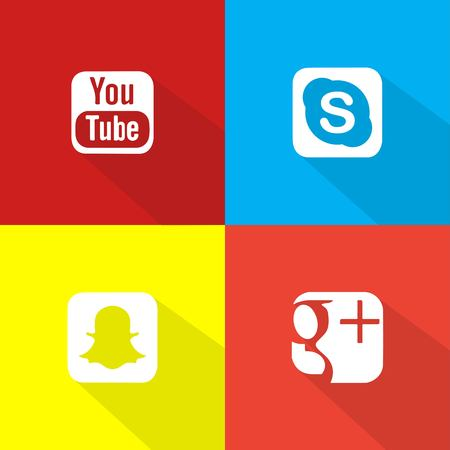 Social Network Icon Web Buttons, Illustration