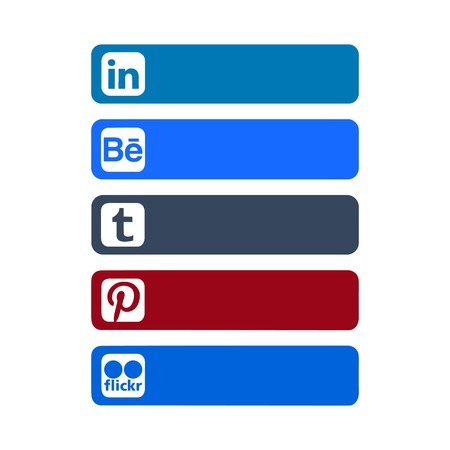 Istanbul, Turkey - October 26, 2017: Collection of popular social media logos printed on paper: Linkedin, Behance, Tumblr, Pinterest, Flickr Editorial