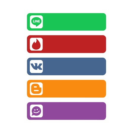 Istanbul, Turkey - October 26, 2017: Collection of popular social media logos printed on paper: Line, Tinder, Meet Me and others. Editorial