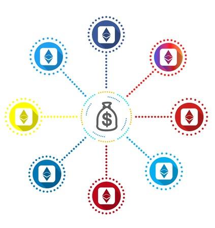 ドル袋、ベクトル図と Ethereum シンボル アイコン。  イラスト・ベクター素材