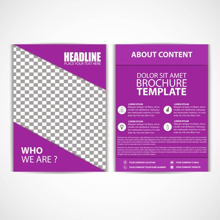 Abstract Purple Color Flyer Template, Size A4, Vector, Illustration